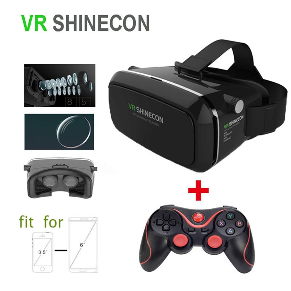 ФОТО Google Cardboard VR Shinecon Gamepad 3D Glasses Virtual Reality Glasses VR BOX 2.0 Movie For 3.5-6.0 Smartphone Game Controller