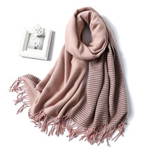 2020 new winter scarf for women fashion striped cashmere shawls and wrap lady pashmina bandana thick neck female foulard scarves