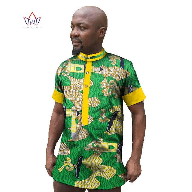 Custom Clothing African Print Wax Mens Short Sleeve Shirts Dashiki Shirt Casual Style Plus Size African Clothing Hot Sale WYN27
