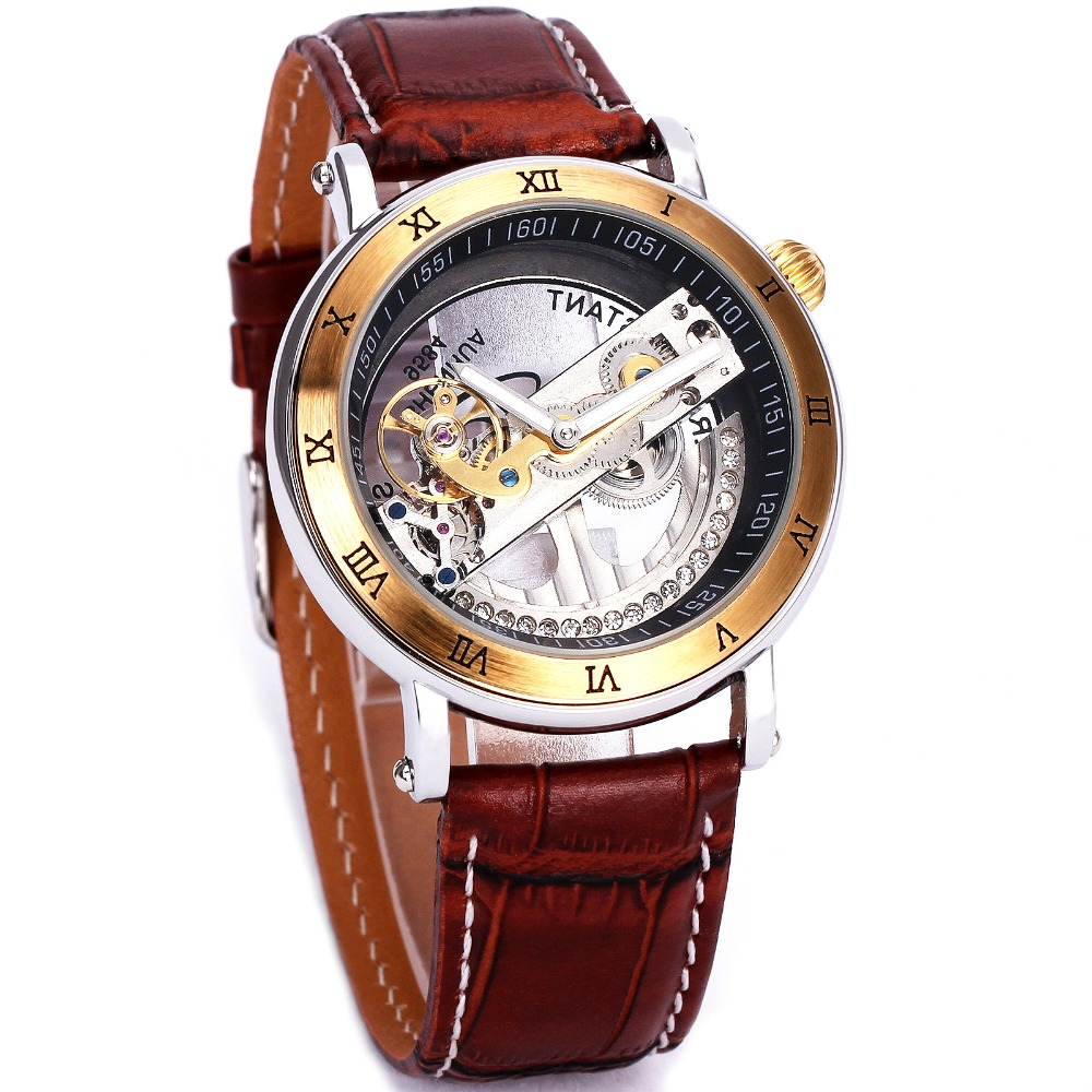1 Luxury Golden Bridge Men Mechanical Wrist Watch Leather Strap Quality Golden Plating Case Business