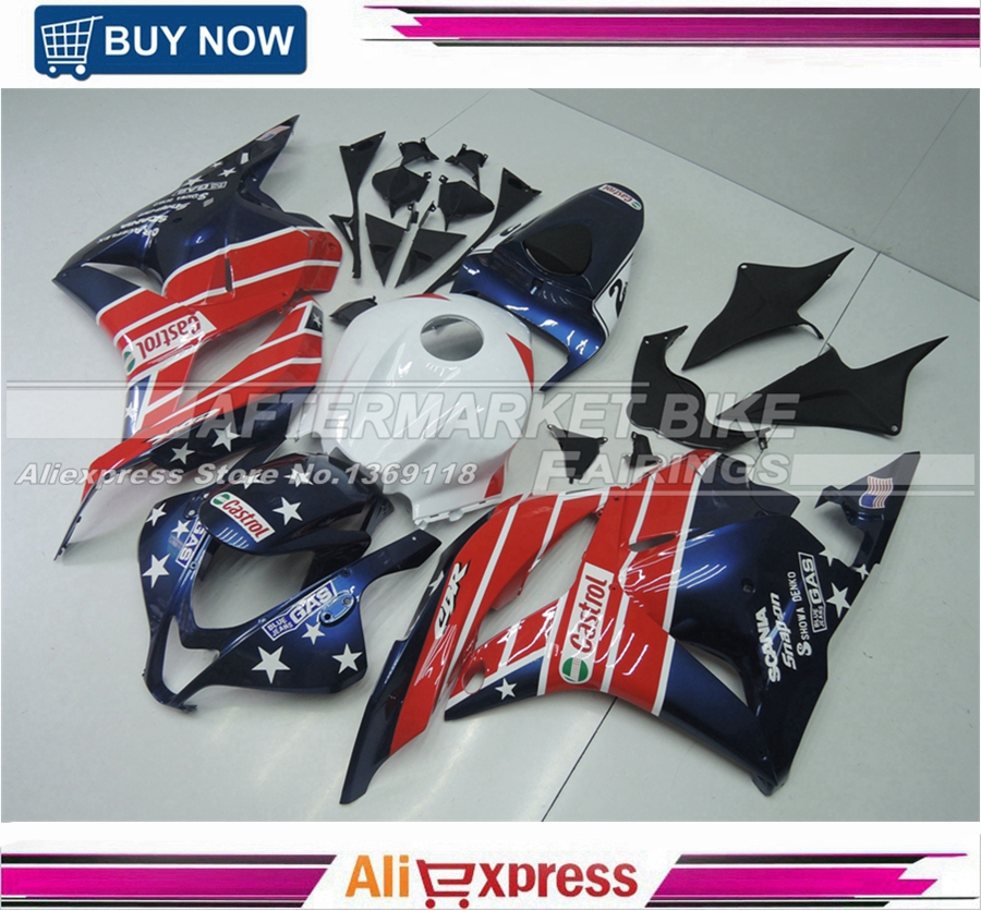 STAR-CASTROL Motorcycle Fairing Kit For Honda CBR600RR 2009 2010 2011 2012 All Year NEW arashi motorcycle radiator grille protective cover grill guard protector for 2008 2009 2010 2011 honda cbr1000rr cbr 1000 rr