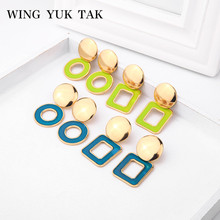 wing yuk tak Fashion Korean Earrings For Women Simple Geometric Enamel Metal Statement Stud femme 2019