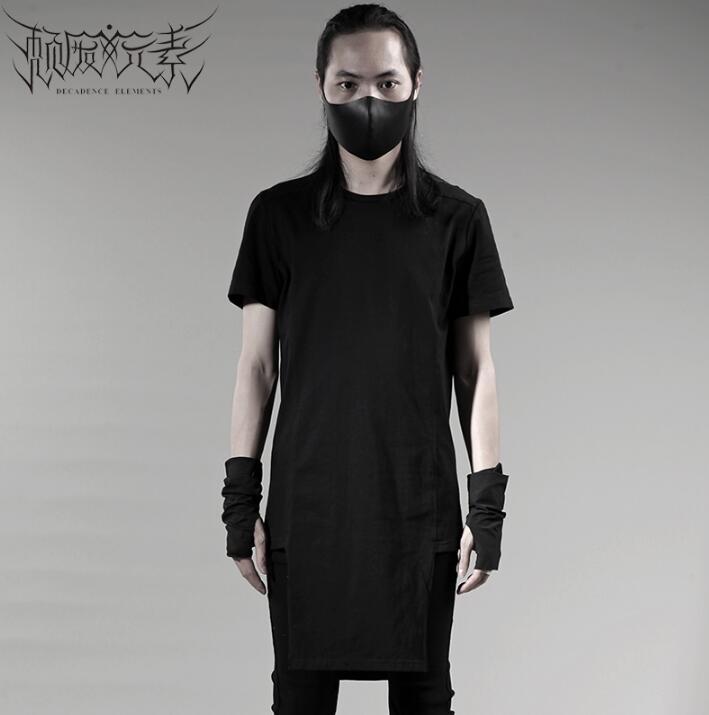 Breve da forma do projeto original do punk sexy slim camisa dos homens de manga comprida camisa adolescente coreano projeto longo T shirt dos homens personalidade