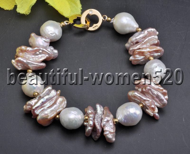 Z7961 13mm Lavender Biwa White Edison Keshi Pearl Bracelet 8inch