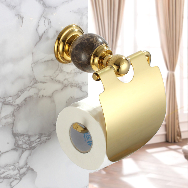 New Wall Mounted Luxury Br Copper Marble Gold Toilet Paper Holder Golden Tissue Bar Bathroom