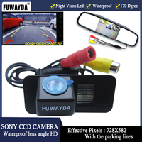FUWAYDA WIRE LED WATERPROOF Car SONY CCD RearView Camera LCD Car MIRROR Monitor Camera for FORD MONDEO FIESTA FOCUS/S Max KUGA