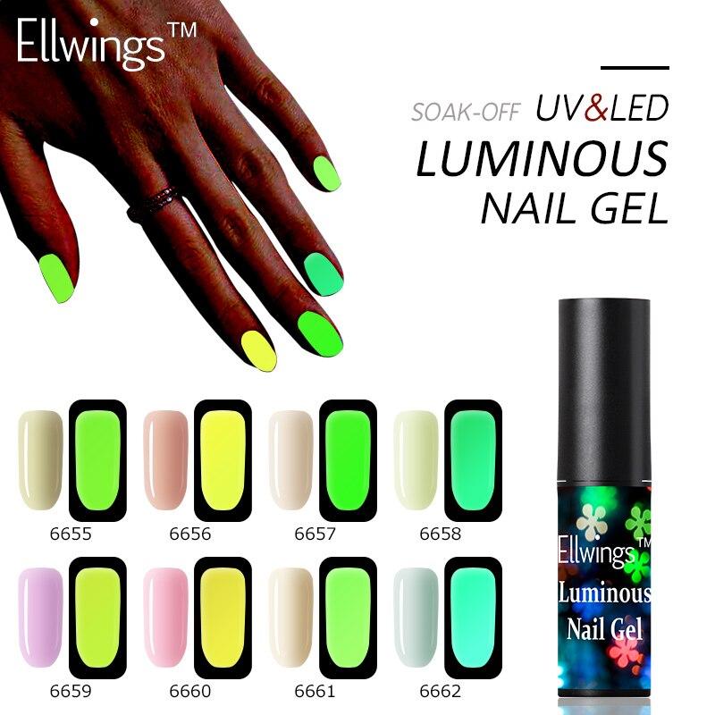 Ellwings Luminous Nail Gel Polish Hybrid Varnish Night Glow In Dark Nail Gel Fluorescent Lucky UV Nail Gellak Gel Esmalte