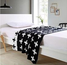 DOKOT Black and White Diamond Check Pattern 100% Cotton Knitted Throw Blanket (51x63 inches, Black Diamond Check) black diamond gizmo ultra white 1sz