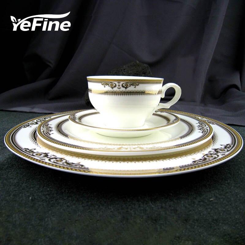 YeFine Royal Bone China Porcelain Dinnerware <font><b>Set</b></font> Western Tableware <font><b>Sets</b></font> Dinner Plates Ceramic Dishes Coffee Mugs With Saucer