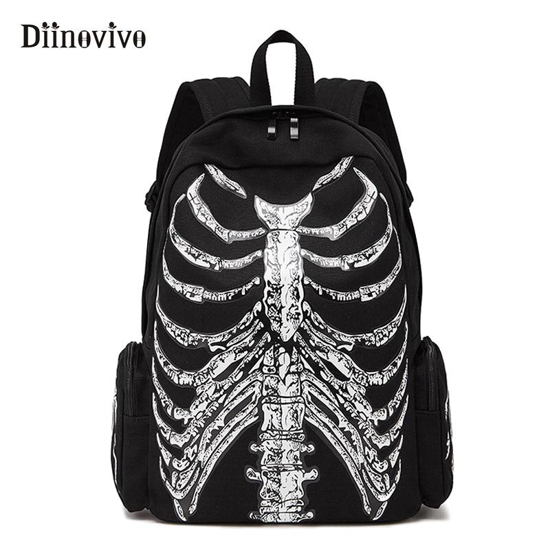 DIINOVIVVO Gothic Women Backpack School Punk Skull Skeleton 