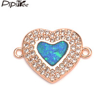 Pipitree Luxury Shiny Blue Opal Charm Brass Cubic Zirconia Love Heart Charms for Jewelry Making DIY Bracelet Connector Accessory(China)