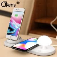 All in one 1 10W USB Charging Dock Station Qi Wireless Charger Mushroom Light for iPhone XS MAX XR ios/MicroUSB/Type C Qi Phones
