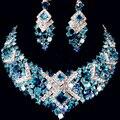 Lujo de cristal austriaco rodio plateado mujeres accesorios regalos del partido azul collar cuelga los pendientes joyería nupcial Wedding Sets