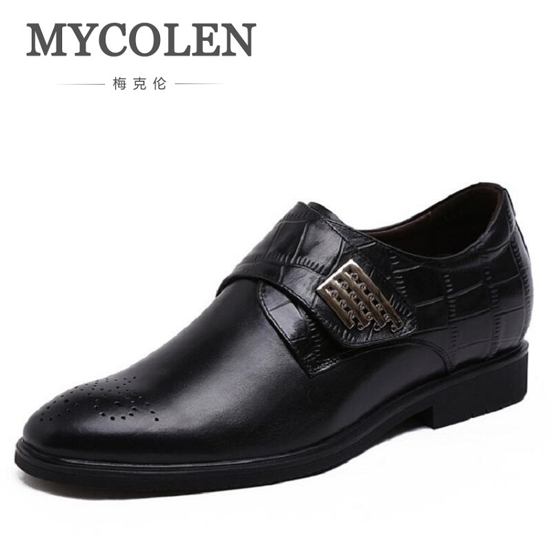 MYCOLEN New Men Dress Formal Shoes Pointed Toe Business Inside Heighten Shoes For Man Real Genuine Leather Male Flats Shoes