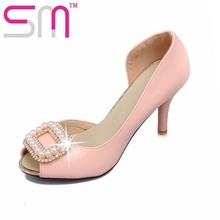 Sexy Peep toe Women's Sandals Elegant Bead Charm High Heels Sandals Shoes Woman Party Shoes Size 32-43