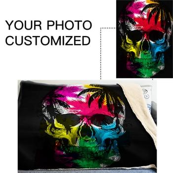 Manta De Punto De Gran Tamaño   GNORRIS Skull De Gran Tamaño Famil Lambskin 3D Impresión Super Suave Manta De Tiro Caliente Nether Sofá Perezoso Cama Manta Capa