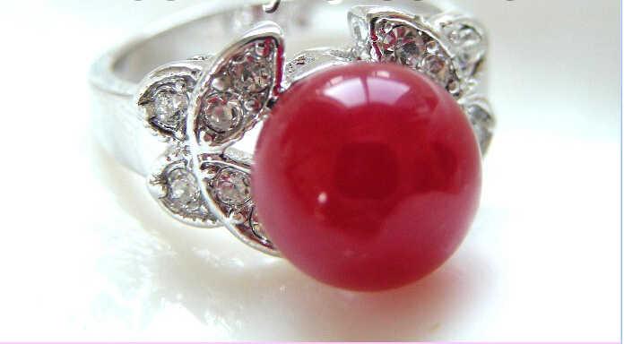การจัดส่งสินค้า> >>>ยอดเยี่ยม10มิลลิเมตรสีแดงธรรมชาติน้ำจืดไข่มุกแหวนa0435