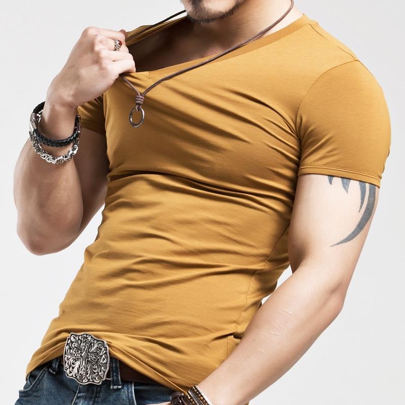 2018 Mens Musim Panas T Shirt Tops Baru V neck Lengan Pendek Tees - Pakaian Pria - Foto 4