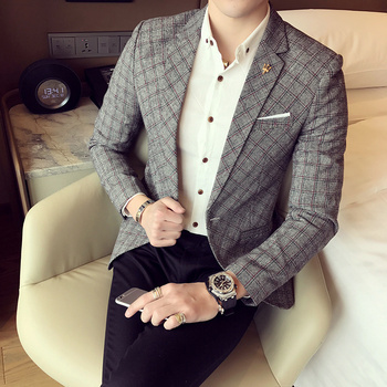 2017 spring men's high-end casual suits Korean Slim lattice small suit business casual checkered youth tide single suit jacket 1