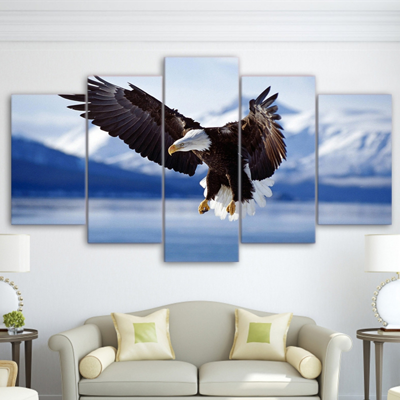HD Printed Modular Painting Frame 5 Pieces Animal Bald Eagle Soaring In The Blue Sky Home Decor Wall Art Canvas Pictures PENGDA