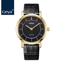 Гея Relogio Feminino женское платье часы мужские часы Для мужчин Элитный бренд Модные Повседневное любовника пару часы черный кожаный ремешок
