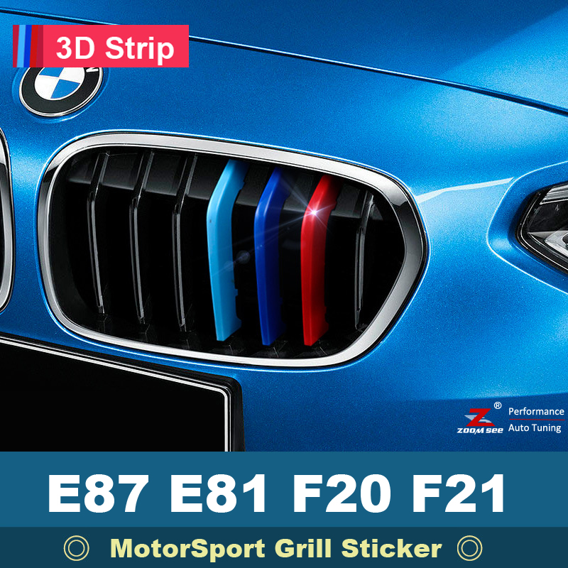 For 2003 to 2017 BMW 1 series E81 E87 F20 F21 3D M Car Front Grille Trim Sport Stripe grill Cover Sticker car styling trunk lid rear emblem badge chrome letters sticker 125i 128i 130i 135i for bmw 1 series f20 f21 e81 e82 e87 e88