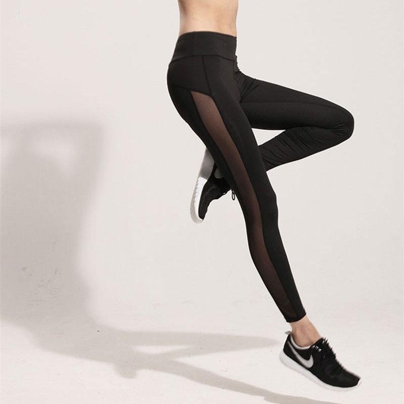 Fashion Women Ladies Fitness Black Mesh Leggings