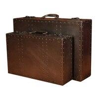 Винтаж Чемодан хранения деревянный ящик для хранения Алюминий украшение, украшение дома мягкая установлен окна Дисплей реквизит для фотос