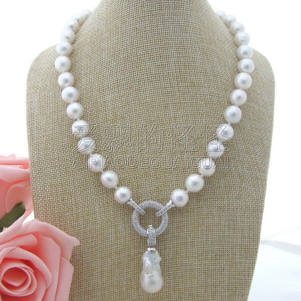 N111302 19 10mm White Keshi Pearl Necklace CZ PendantN111302 19 10mm White Keshi Pearl Necklace CZ Pendant