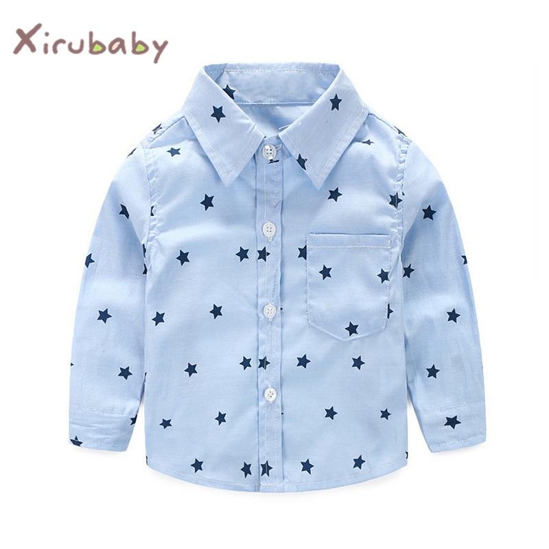 Xirubaby Baby Boy Shirt 2018 Estate Neonati Maschi Shirt Stars Stampe Manica Lunga Casual Top Abbigliamento Bambino Camicie Per Bebes Acquisto Speciale
