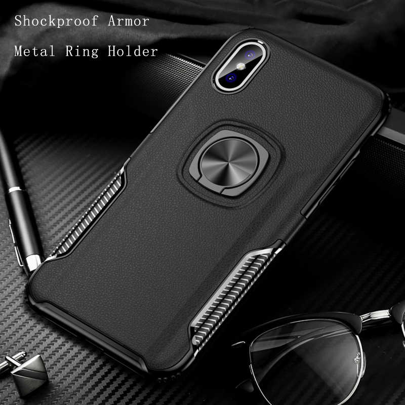 Shockproof Armor Case For iPhone XS Max XR X 6 6S 7 8 Plus 8Plus 6Plus iPhone6 Case iPhone8 Cases iPhone7 Metal Ring Stand Cover