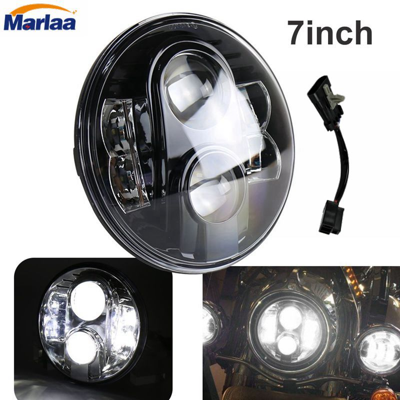 Harley 7 Led Headlight 80W 7 Inch Round Projector Daymaker Hi/Lo Beam Headlamp Driving Light DRL Motorcycle Led Headlights 7 inch round led headlight motorcycle led for jeep wrangler 7 inch 80w headlight round low hi beam headlamp for harley