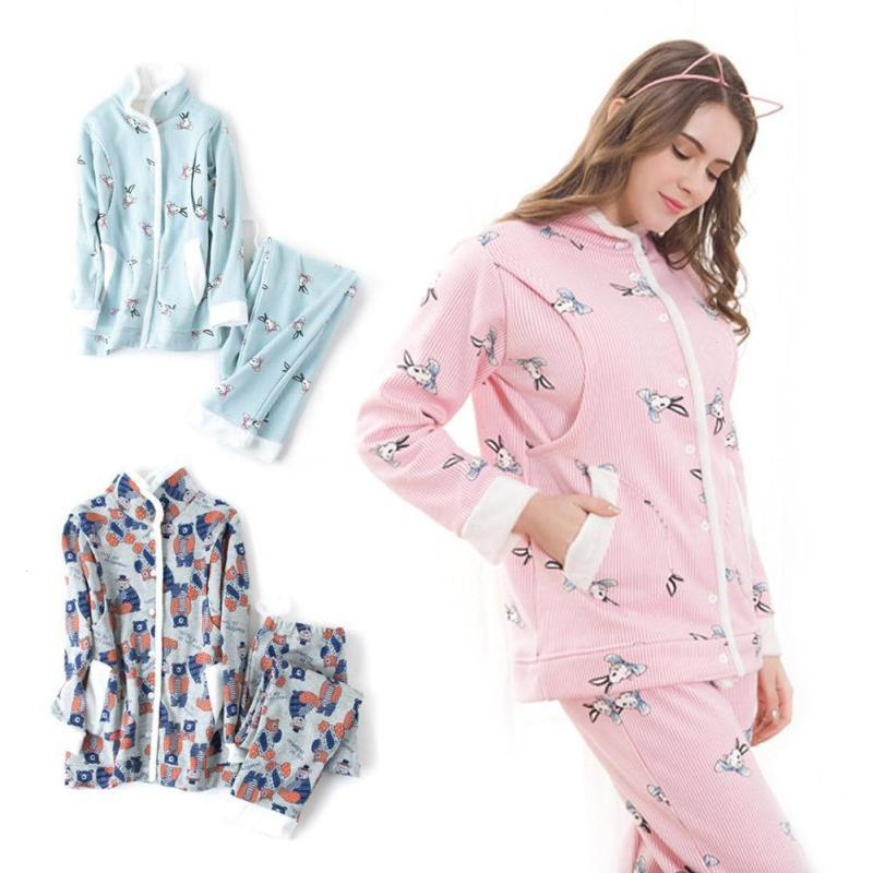 Maternity nursing pajamas set cotton print pregnancy breastfeeding nightgown maternity nursing gowns for pregnant sleepwear WD3 maternity nursing pajamas set soft comfortable breastfeeding sleepwear maternity pajama nightgown european 3pcs set