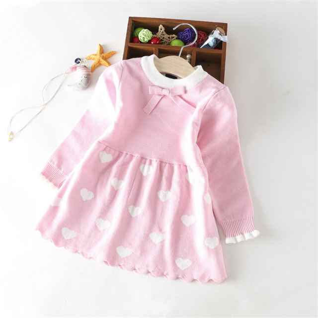 0d98aac2c Baby Girl knit Dress teen girls dresses wool love Tops girls Shirt ...