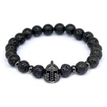 2016 New Fashion Lava Charm Men Bracelets Famous Knight Helmet Braiding Brand Strand Bandage Macrame Black Beads Bracelets.