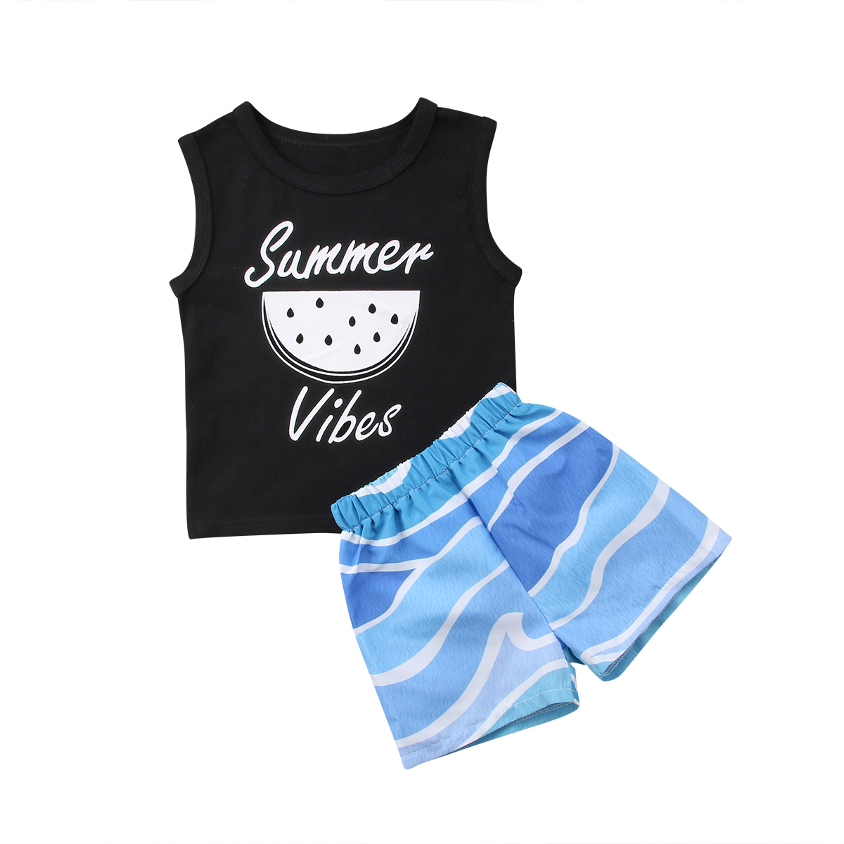 f8f6fbb61 2018 Summer Newborn Baby Girl Boy Tops Black Print Vest Sports Blue ...