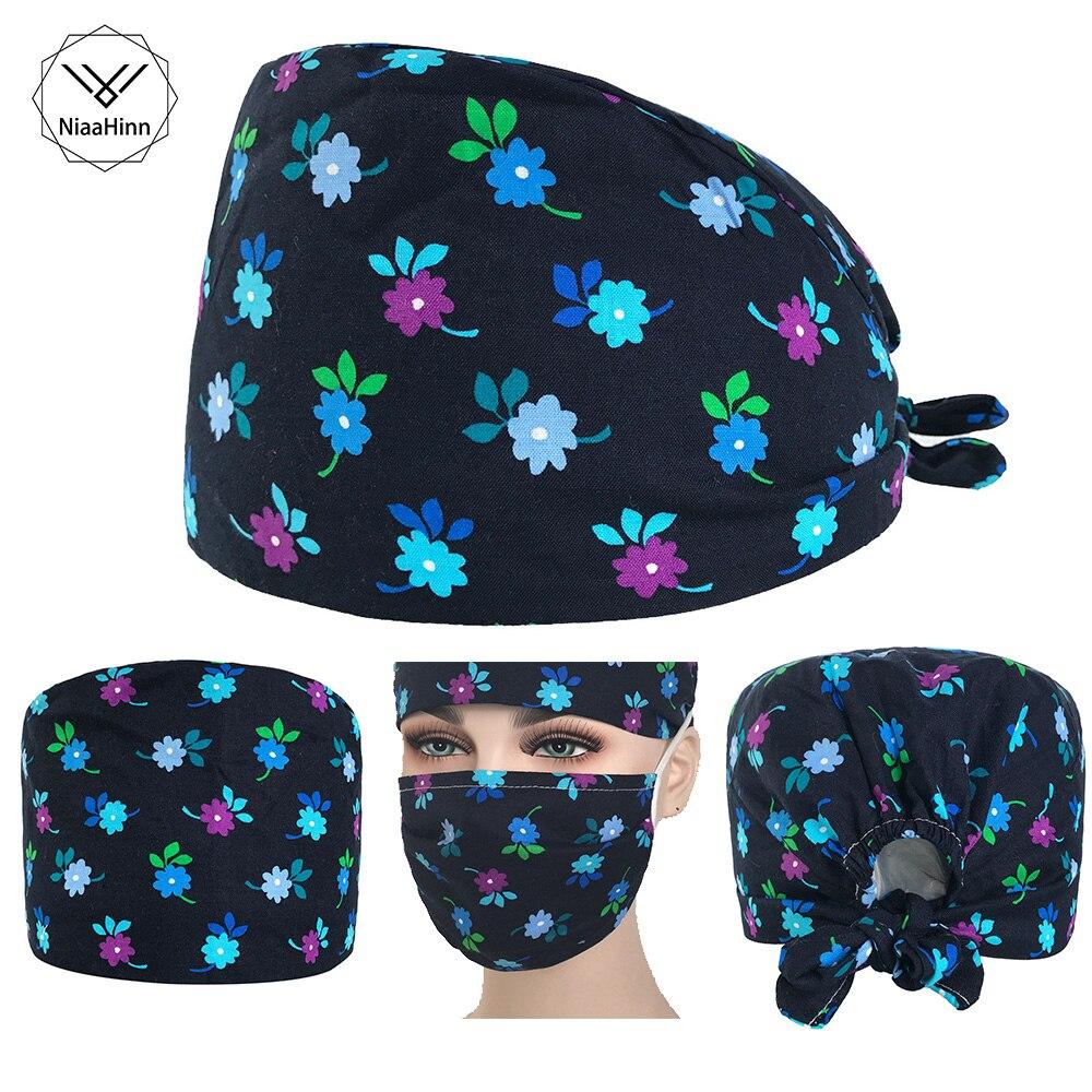 Ladies Surgical Surgical Cap Beautiful Flower Print Medical Hat Cotton Gourd Hat Upscale Beauty Hospital Doctor Nurse Hat+Mask