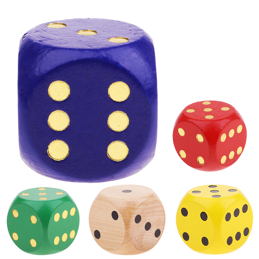 MagiDeal Extra Large Wooden Dice with Rounded Corner D6 Six Sided Dice 5cm For Board Games Table Games