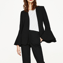 U-SWEAR Womens Blazer Jacket Flare Sleeve Black Blaser Feminino Casual Office La