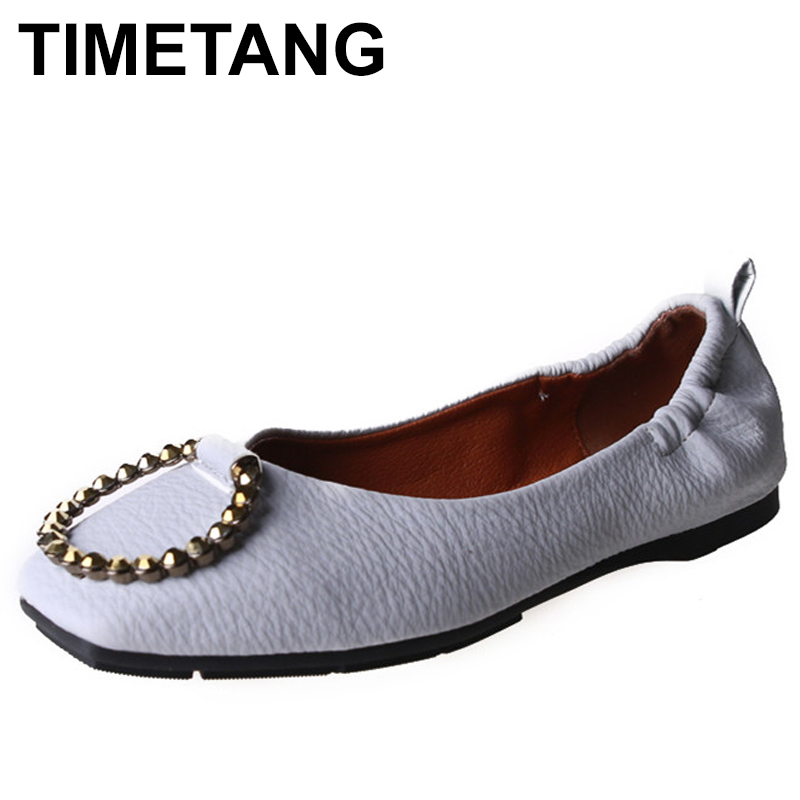TIMETANG Spring PU fashion women flat shoes Bowknot metal buckle square head for women's shoes Big yards side empty female C133 hevxm 2017 spring korean ladies fashion round head flat pu ordinary shoes female students british wind shoes