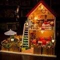 Diy casa de boneca modelo de brinquedo casa de bonecas de madeira Handmade 3D mini montado construção de casa de sonho estrela