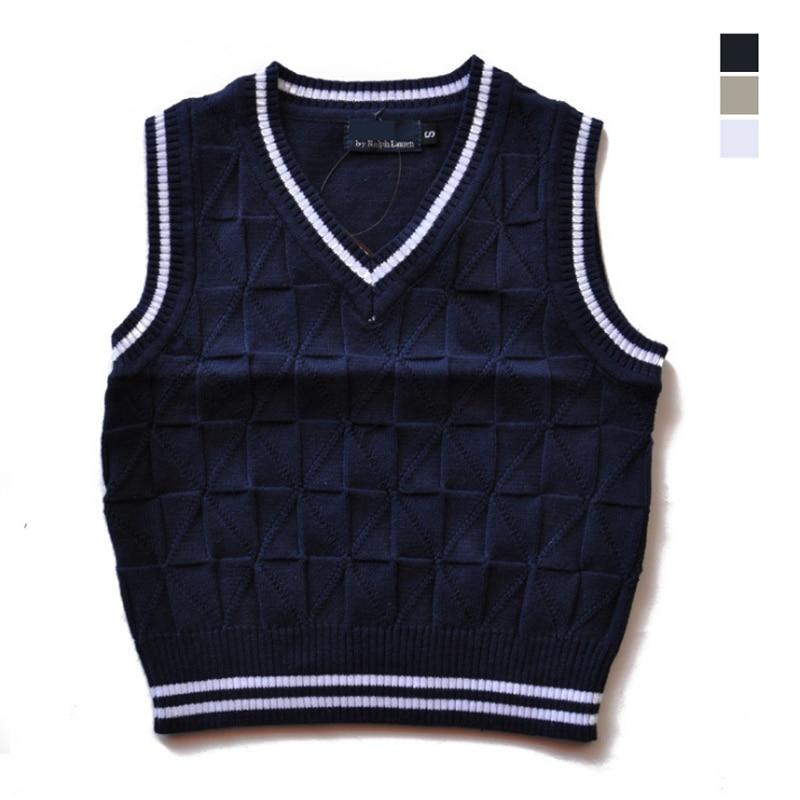 d7e915647440 Kids Solid Color Sweater Vest Baby Girls Pullover Sweater Boy V Neck ...