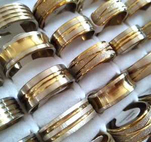 Image 2 - 100pcs Gold Line Top MIX Mens Fashion Stainless Steel Rings Man Cool Jewelry Hot sale Wholesale Jewelry Lots