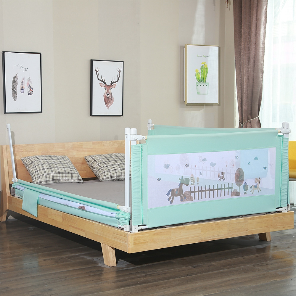 1.8M 1piece Cartoon Newborn Baby Cite Bed Guardrail Crib Rail Baby Safety Fence Guard Adjustable Infant Bed Rail Pocket Playpen