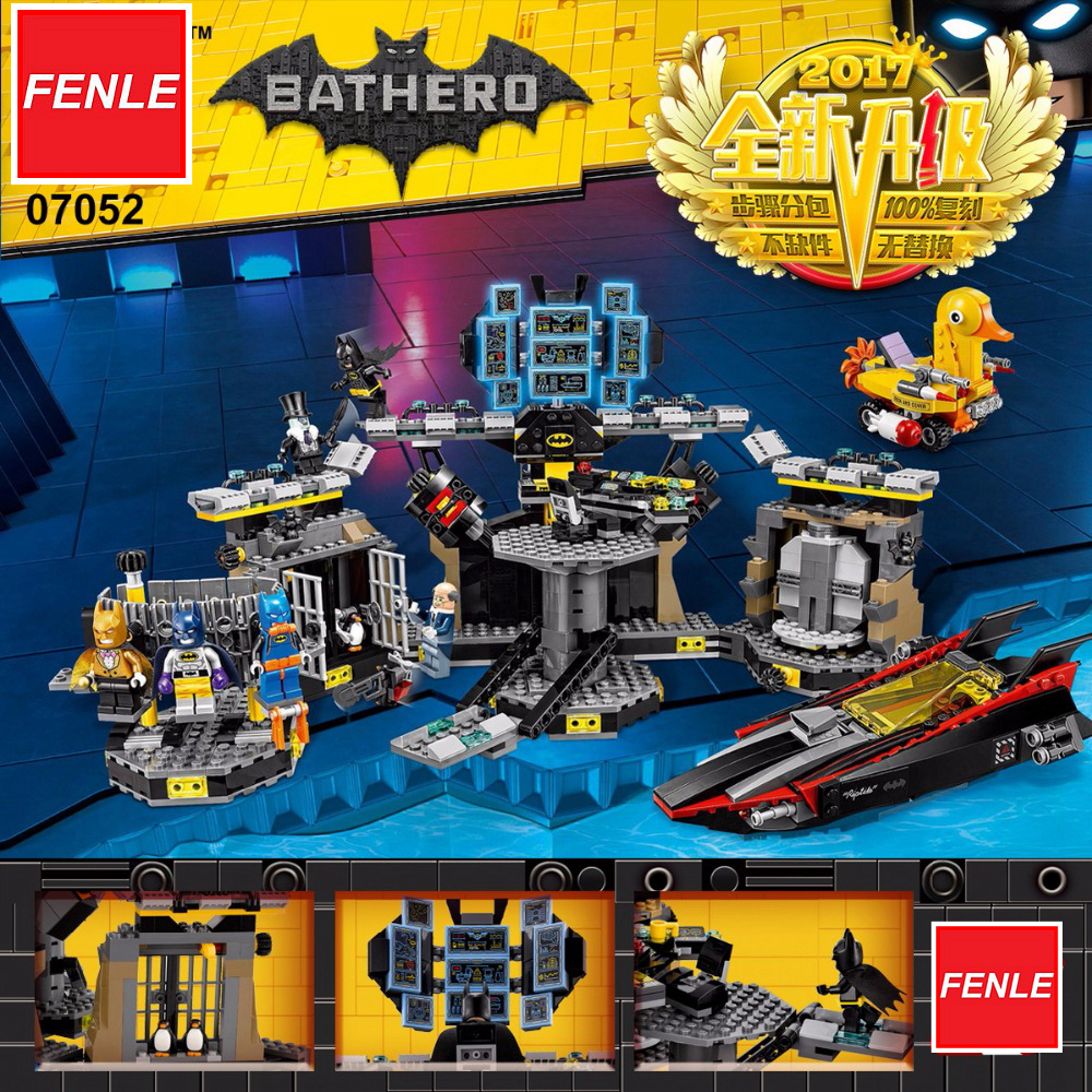 Lepin batman1047pcs 07052 genuine batman movie series 70909 batcave break in building blocks bricks education