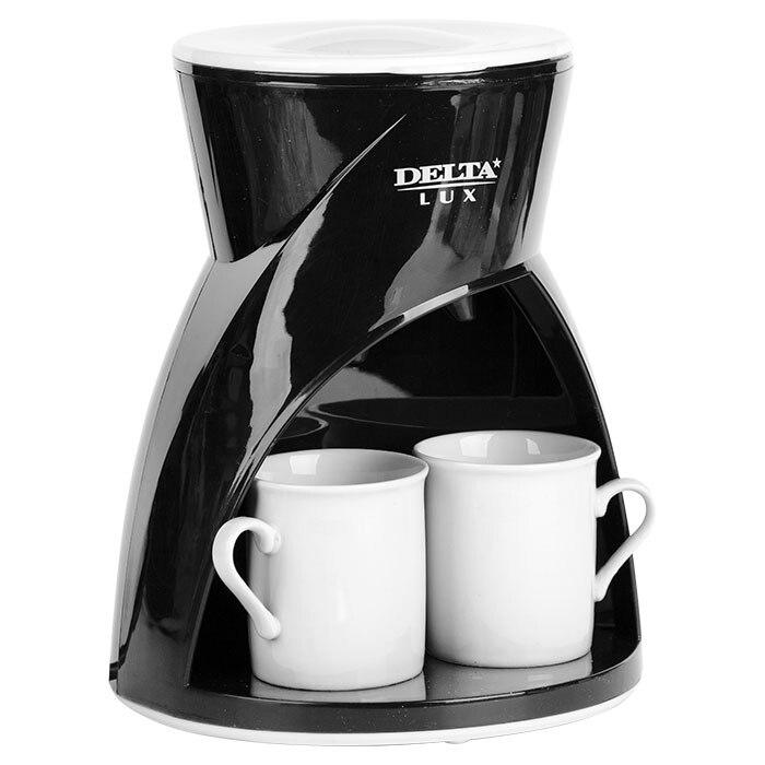 Кофеварка электрическая Delta Lux DL-8131, 450 Вт, 300 мл, 2 чашки цена и фото