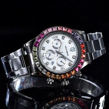 Reloj de pulsera con esfera colorida de diamante para Mujer, relojes de pulsera de cuarzo para Mujer, relojes de diamante de imitación para Mujer