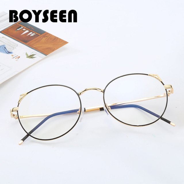 0edee5b671b BOYSEEN Retro cat ears myopia glasses frame metal round light flat mirror  Optical frames Male and