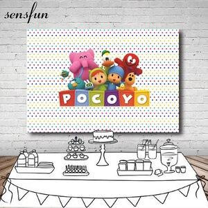 Image 1 - Sensfun Photography Backdrop Cartoon Characters Pocoyo Birthday Party Baby Shower Children Photo Backgrounds Vinyl Polyester