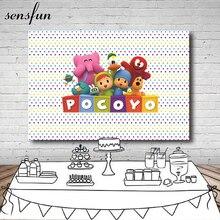 Sensfun צילום רקע דמויות מצוירות Pocoyo מסיבת יום הולדת תינוק מקלחת ילדי רקע צילום ויניל פוליאסטר